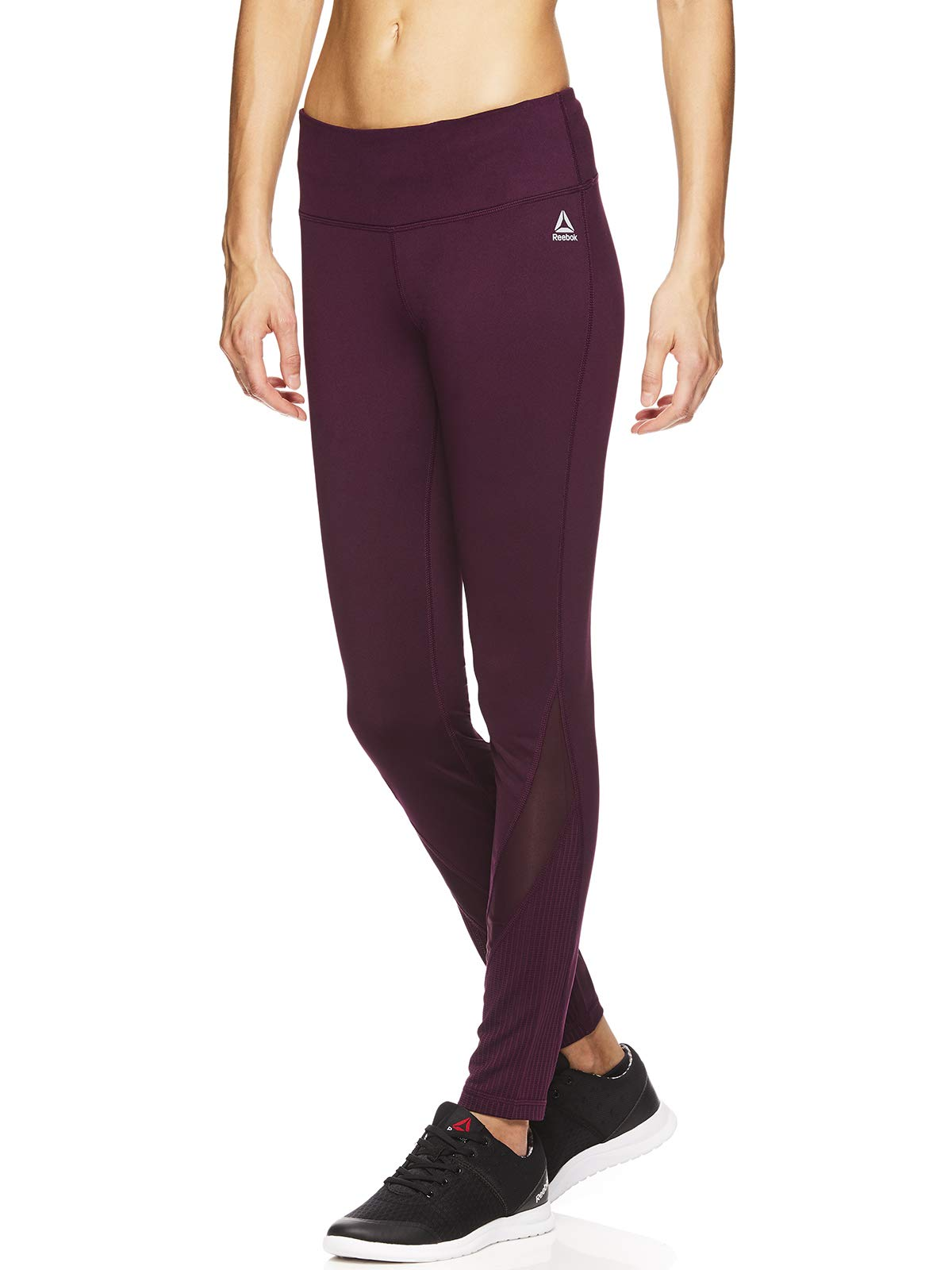 Reebok Women's Leggings Full Length Performance Compression Pants - Athletic Workout Leggings for Women for Gym & Sports - Stealth Potent Purple, Small by Reebok