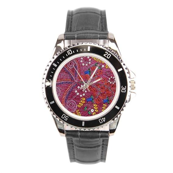 kosmore Tropical - Funda de piel relojes Tropical diseño de reloj para hombre correa de piel negro: Amazon.es: Relojes
