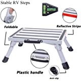 Homeon Wheels Safety RV Steps 16.5' x 12.2' RV Step Stool Aluminum Folding Platform Step with Non-Slip Rubber Feet…