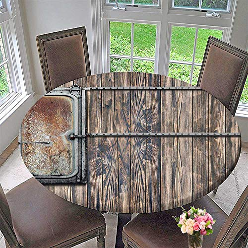 The Round Table Cloth Tree Planks with Rusty Metal Boat Door Print Brown and Grey for Birthday Party, Graduation Party 43.5