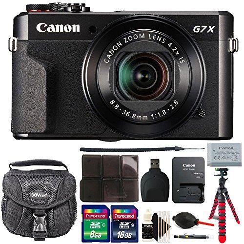 Canon PowerShot G7 X Mark II 20.1 MP Digital Camera (Black) + 24GB Memory Card + Wallet + Reader + Lens Pen + Dust Blower + Case + 3pc Cleaning Kit + Flexible Tripod