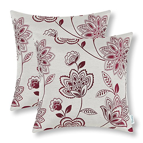 Exceptional Pack Of 2 CaliTime Cushion Covers Throw Pillow Cases Shells For Home Couch  Sofa, Dahlia Floral, 18 X 18 Inches, Burgundy
