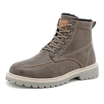 HILOTU-Stivali in Pelle Scamosciata da Uomo Scarponcini da Trekking con  Lacci Casual Scarpe Invernali dc8822610f5