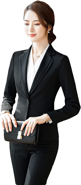 SK Studio Damen Business Anzug Set Elegant Slim Fit Klassischer Taillierter Blazer und Hosen Rock Anzug