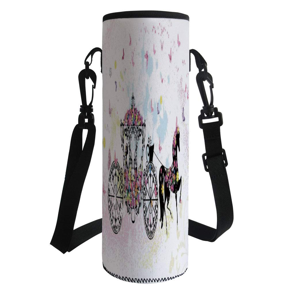Water Bottle Sleeve Neoprene Bottle Cover,Kids Decor,Vintage Floral Carriage Black Horse Colorful Flowers Fairy Butterfly Girls Fun Party Print,Fit for Most of Water Bottles
