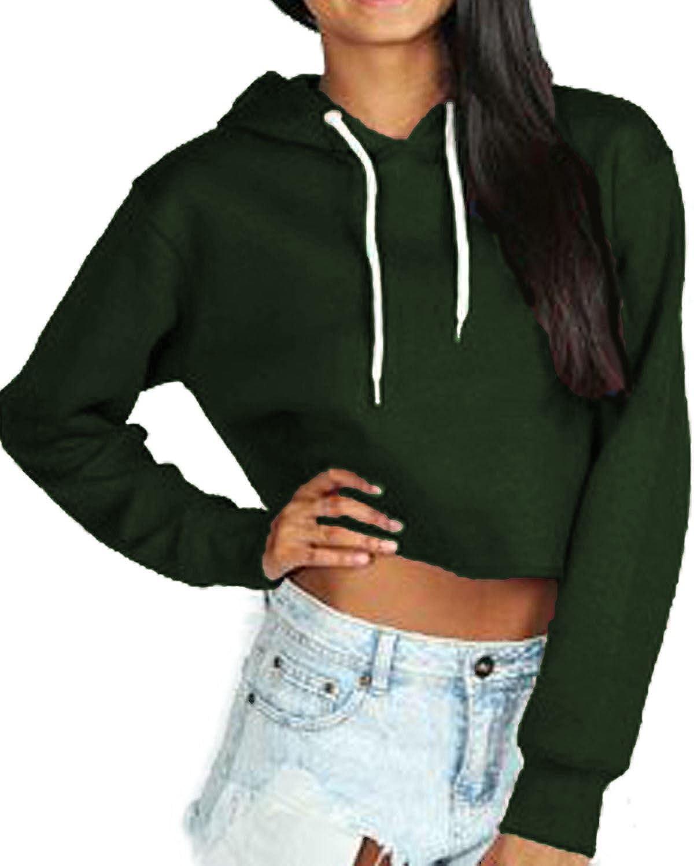 Vanilla Inc /® Ladies Womens Crop Hoodie New Hooded Hoody Sweatshirt Plain Jumper Heavy Sweat Pullover Tops