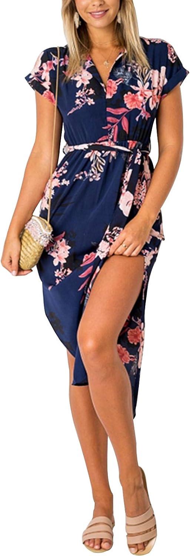 YOINS Donna Vestito Lungo Abiti Lunghi Abito a Pieghe Manica Lunga Vestiti Estivi con Scollo Tondo Abito da Spiaggia Banchetto Vacanza