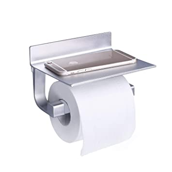 Toilettenpapierhalter Edelstahl Klopapierhalter mit Ablage WC Rollenhalter Selbstklebend Wandmontage f/ür Badezimmer