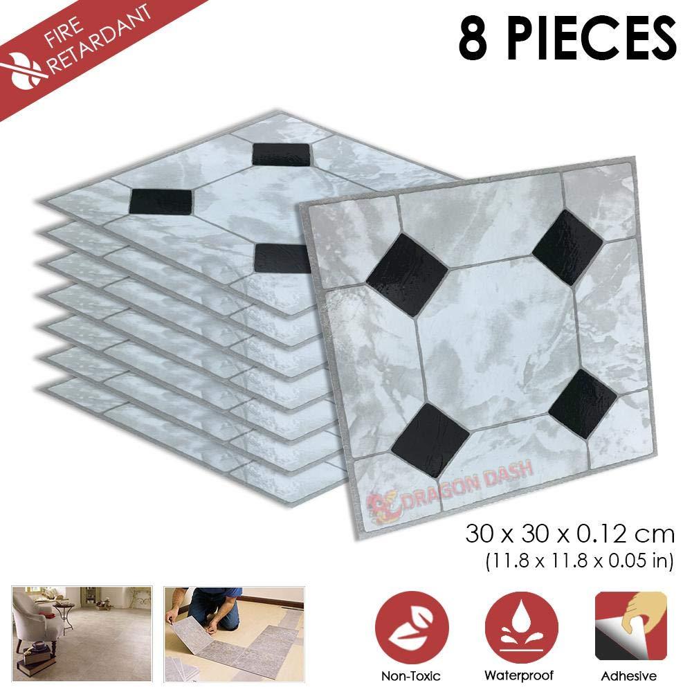 PORZELLAN Design PVC Bodenbelag Fliesen Selbstklebend Vinyl-Fliesen 1175 8 Stucke Schalen und Kleben 30 x 30 x 0.1 cm Heimtextilien D