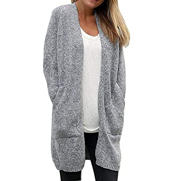 8fc1efbce42f3f Christmas Women's Solid Soft Stretch Long-Line Long Sleeve Open Front Knit  Cardigan with Pockets