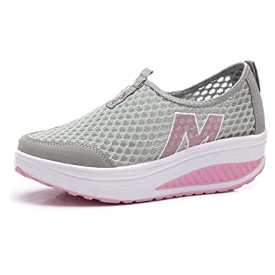 53bead0a764cc Orlancy Women's Mesh Wedge Sports Shoes Slip On Lightweight Fitness Walking  Sneakers Size US4-11