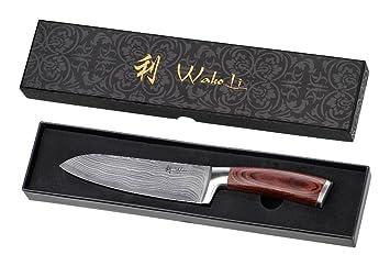 Wakoli Damascus Kitchen Knife, Damascus Santoku Knife,japanese Vg 10 Steel,  Wakoli