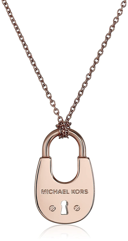 49fceb0ffe887 Amazon.com  Michael Kors Gold-Tone Padlock Pendant Necklace