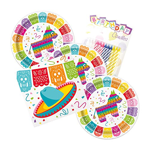 JJ Party Supplies Mexican Fiesta Party Plates and Napkins Serves 16 With Birthday Candles -