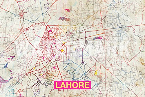 Lahore (Pakistan) Artistic Modern Map - Original Photo Poster Print - Perfect Gift - Size: 24 x 16 Inches (LIMITED SUPPLY) - 61 x 40.5 - Lahore Pictures Pakistan