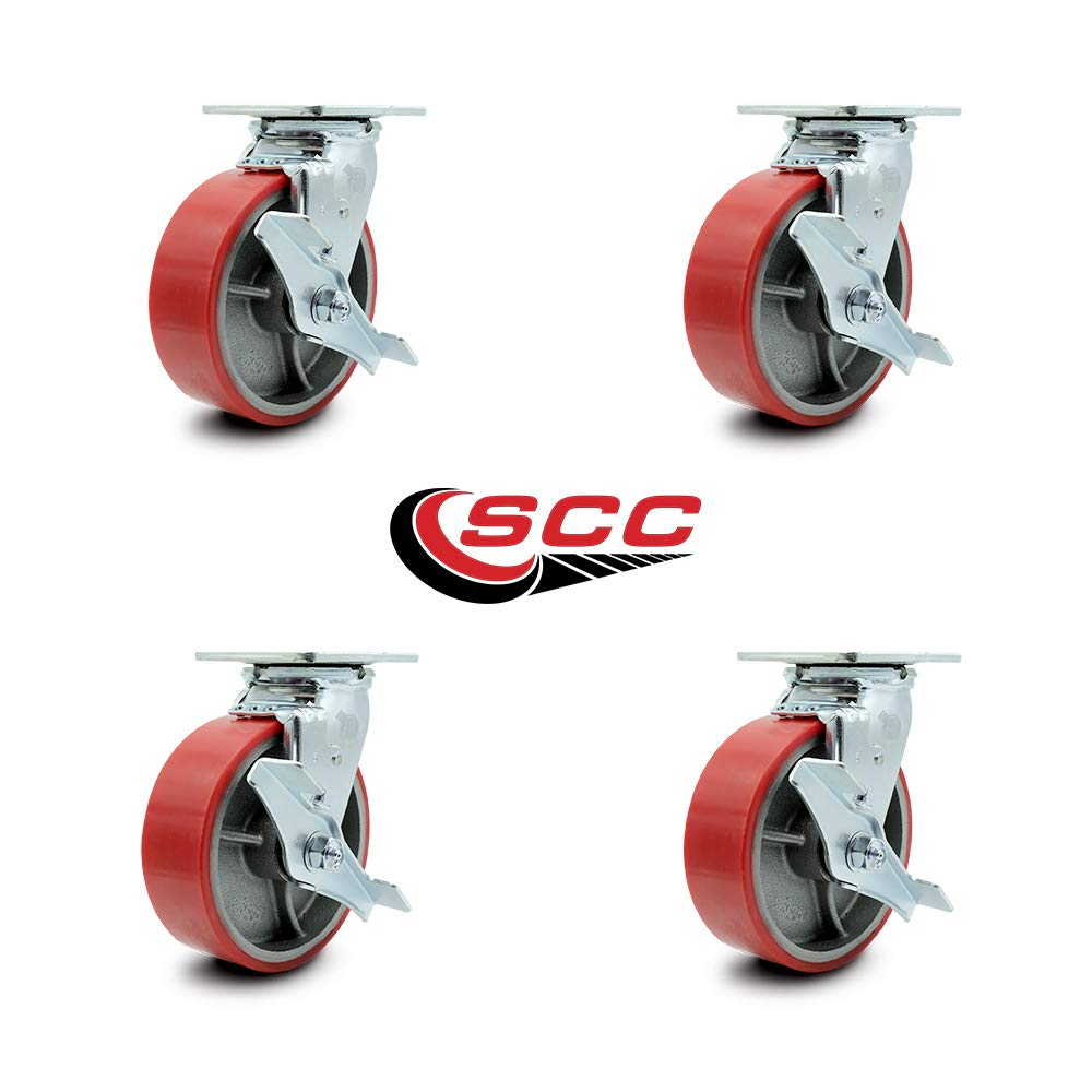 Service Caster - 6'' x 2'' Polyurethane Wheel Caster Set - Red on Silver - Swivel Casters w/Brakes - Non Marking - 4,800 Lbs Total Capacity - Set of 4