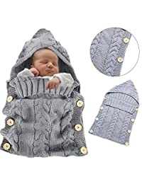 Sunroyal Colorful Newborn Baby Wrap Swaddle Blanket,Baby Kids Toddler Knit Blanket-Light Grey