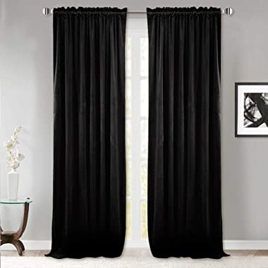StangH Thick Velvet Curtains 108-inch - Thermal Blackout Window Treatment Privacy Drapes with Dual Rod Pocket for Backdrops, Black, 52 x 108 inches, Double Panels