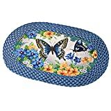 Collections Etc Vintage Spring Butterfly and Flowers 20″x30″ Braided Accent Rug, Blue For Sale