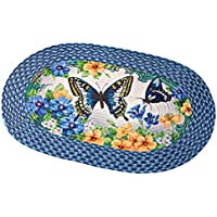 Collections Etc Vintage Spring Butterfly and Flowers 20x30 Braided Accent Rug, Blue