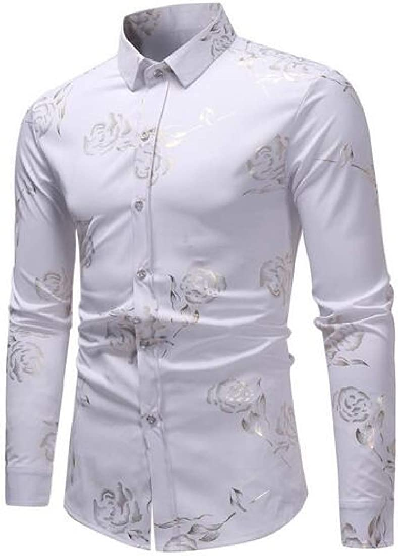 X-Future Men Long Sleeve Casual Button Up Floral Print Slim Dress Shirts