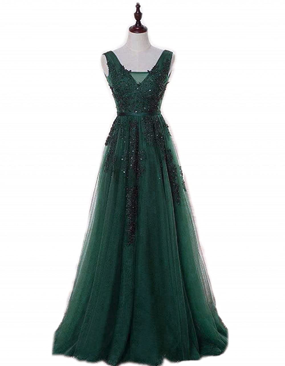King's Love Women's V-Neck Beads Lace Tulle Backless Evening Dress Long Prom Dresses