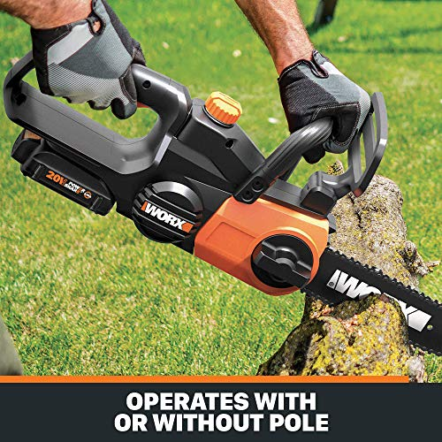 WORX WG323 20V 10 Cordless Pole/Chain Saw with Auto-Tension, Black