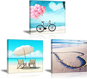 Blue Ocean Wall Decor Heart on Beach and Sky Wall Art, SZ Bicycle with Pink Balloon Oil Paintings Sunshade Canvas Prints (Waterproof Artwork, Bracket Mounted Ready to Hang)