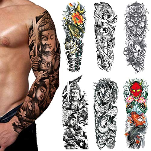 Extra Large Fake Tattoos,Full Arm Temporary Tattoos Sticker For Men and Women, Dragon,Fish,(Pack of 6)(3) from Acoser