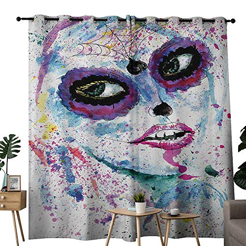 NUOMANAN Curtains for Bedroom Girls,Grunge Halloween Lady with Sugar Skull Make Up Creepy Dead Face Gothic Woman Artsy,Blue Purple Curtain Panels for Bedroom & Kitchen,1 Pair54 x84