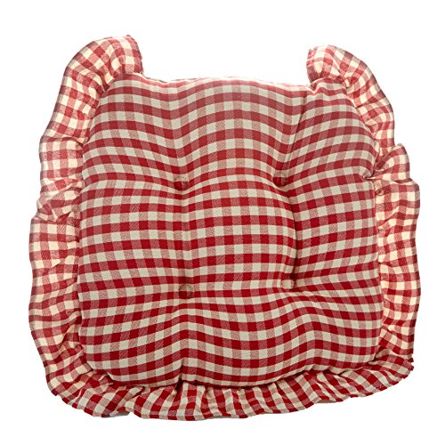 Klear Vu 847229-07SM Grip Dot Gingham Small Ruffle Universal Chair Cushion, Red, (Red Cushion Grip)