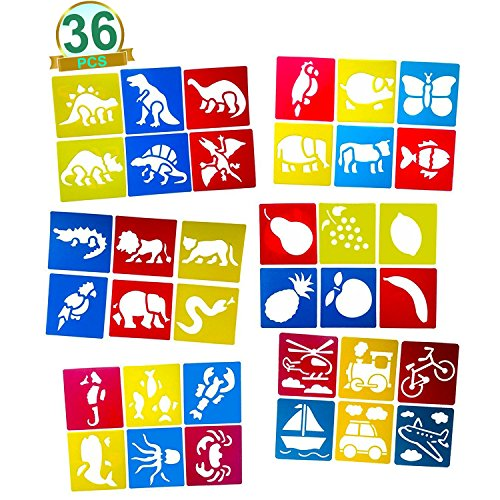 VFEVRS Stencils for Kids - Plastic Drawing Painting Stencil Templates for Kids Crafts (Set of ()
