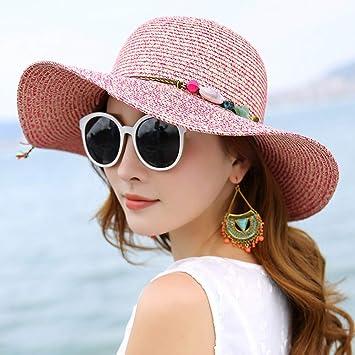 CGXBZA Sombrero de Verano para el Sol Sombrero de Dama de Paja ...