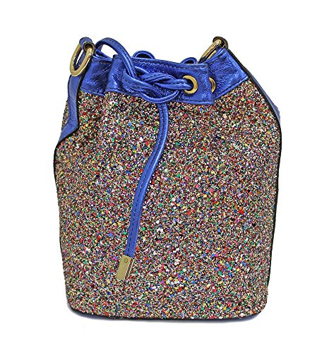 Borsa donna Collezione Argento Antico by Laino Industry fashion accessories - Borsa in pelle a sacchetto con glitter multicolor