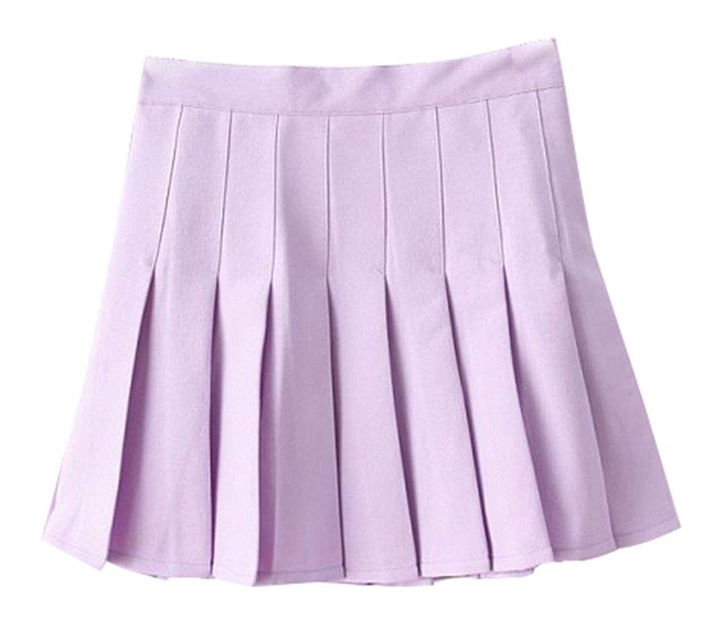 2ccffb58ae Yasong Women Girls Short High Waist Pleated Skater Tennis Skirt School  Skirt Uniform With Inner Shorts