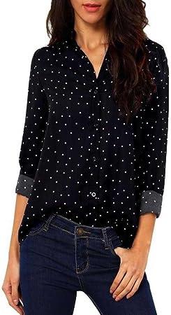 Camisa Mujer Camiseta de Gasa de Manga Larga Casual Blusa Suelta de Mujer Túnica Tops de Primavera Verano (Negro, XL): Amazon.es: Hogar