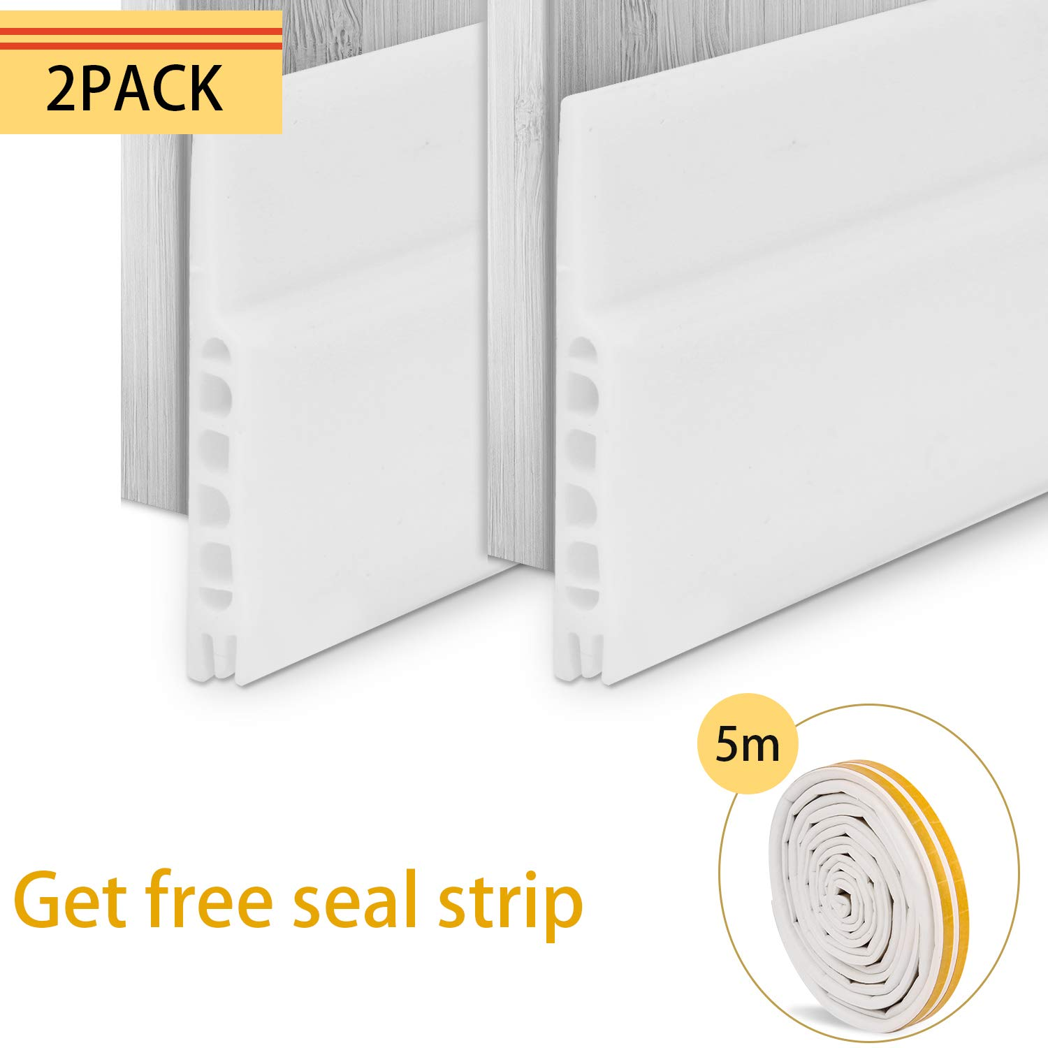 Under Door Seal, Aufisi 2 pcs Strong Adhesive Door Draft Stopper Door Sweep Blocker for Soundproof and Prevent Bugs, Door Bottom Seal White 1.7 W x 39 L, 1 pcs Weatherproof Door Seal Stripping 5M