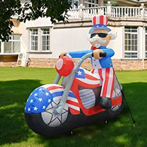 GOOSH 6 ft Tall Patriotic Independence Day Inflatable Uncle Sam Sitting on Motorcycle Blowup Inflatables with Build-in LED Lights for Party Indoor,Outdoor,Yard,Garden,Lawn Decorations 5 Instructions