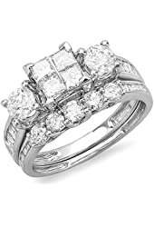 2.00 Carat (ctw) 14k White Gold Princess & Round Diamond Ladies Bridal Ring Set Engagement with Matching Wedding Band 2 CT