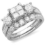 1.90 Carat (ctw) 14K White Gold Princess & Round Diamond Bridal Set Engagement With Matching Band