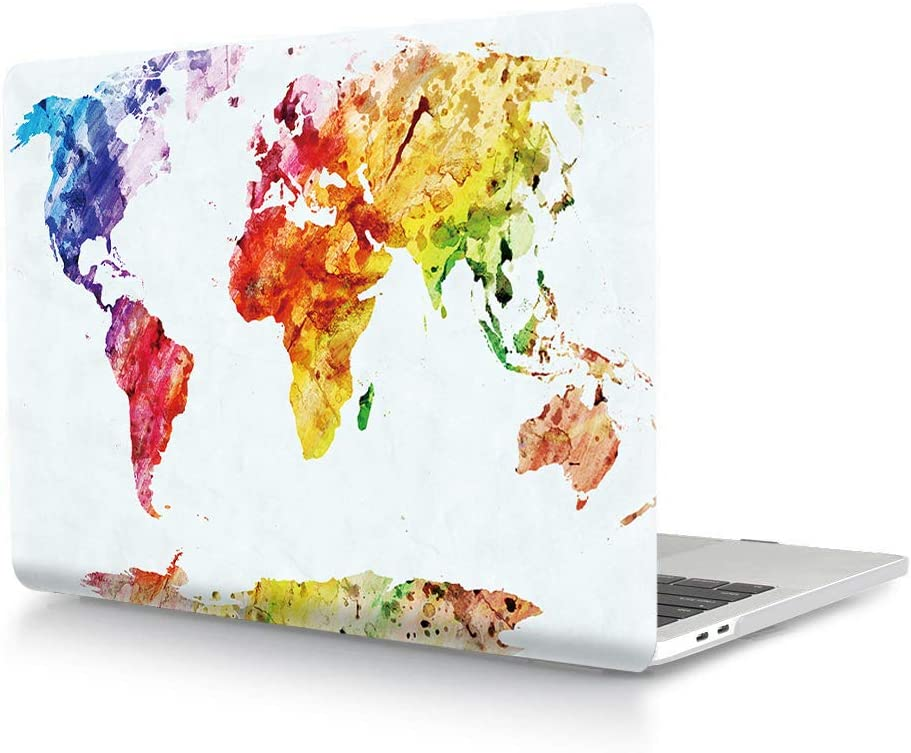 HRH Watercolor World Map Laptop Body Shell Protective PC Hard Case for MacBook New Pro 15 Case 2018 2017 2016 Release A1990/A1707 with Touch Bar