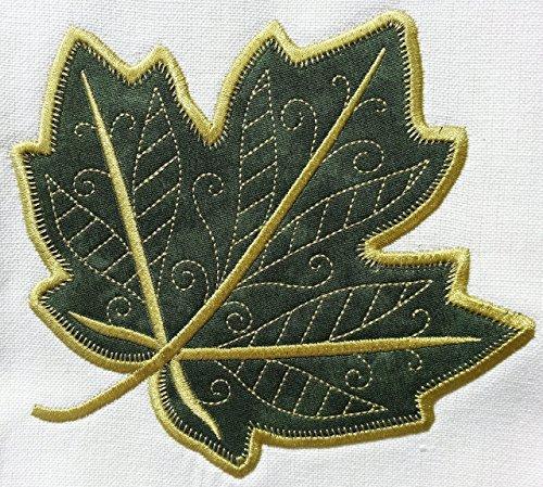 Embroidered Kitchen Towel Autumn Maple Leaf Applique Design ()
