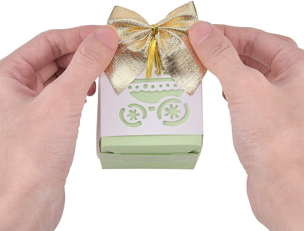 PandaHall Elite Paquet de 96 Mini Noeuds Tiss/és /à la Main,Bowknot Dor/é et Argent/é pour larbre de No/ël Boite Cadeau D/écoration de Costumes,51x51x3mm