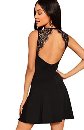f103507ee70f5 SheIn Women's Sleeveless Lace Applique Cocktail Backless Party Flare Mini  Dress X-Small Black