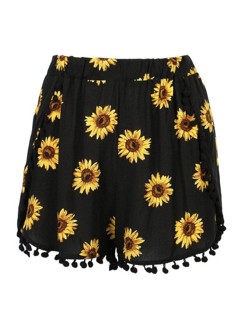 CR Women's Black Sunflower Print High Waist Pom Poms Shorts,Large
