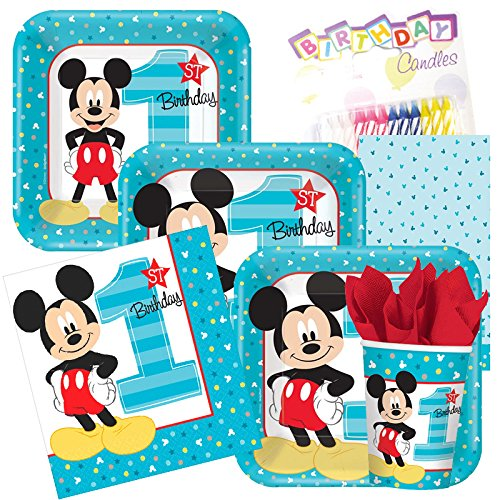 1st Mickey Mouse Birthday Party Supplies Pack- Napkins 16ct, Luncheon Plates 8ct, Dessert Plates 8ct, Drinking Cups 8ct, and Tablecloth includes Birthday Candles