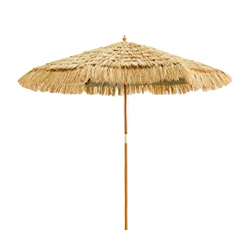 Nice Caymus 8 Ft Wooden Hula Thatched Tiki Umbrella Hawaiian Style Beach Patio  Umbrella Natural Color 8
