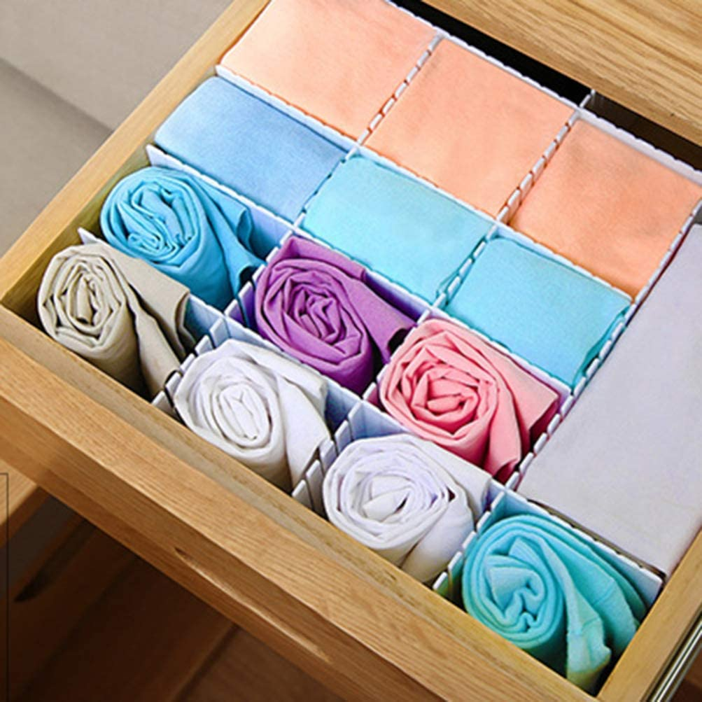 HEALLILY Plastic DIY Grid Drawer Divider Household Storage Thickening Housing Spacer Sub-Grid Finishing Shelves for Home Tidy Closet Stationary Socks Underwear 8PC