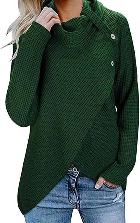 YJYdada Suéter de Mujer, Manga Larga, con Botones, Cuello de Vaca ...