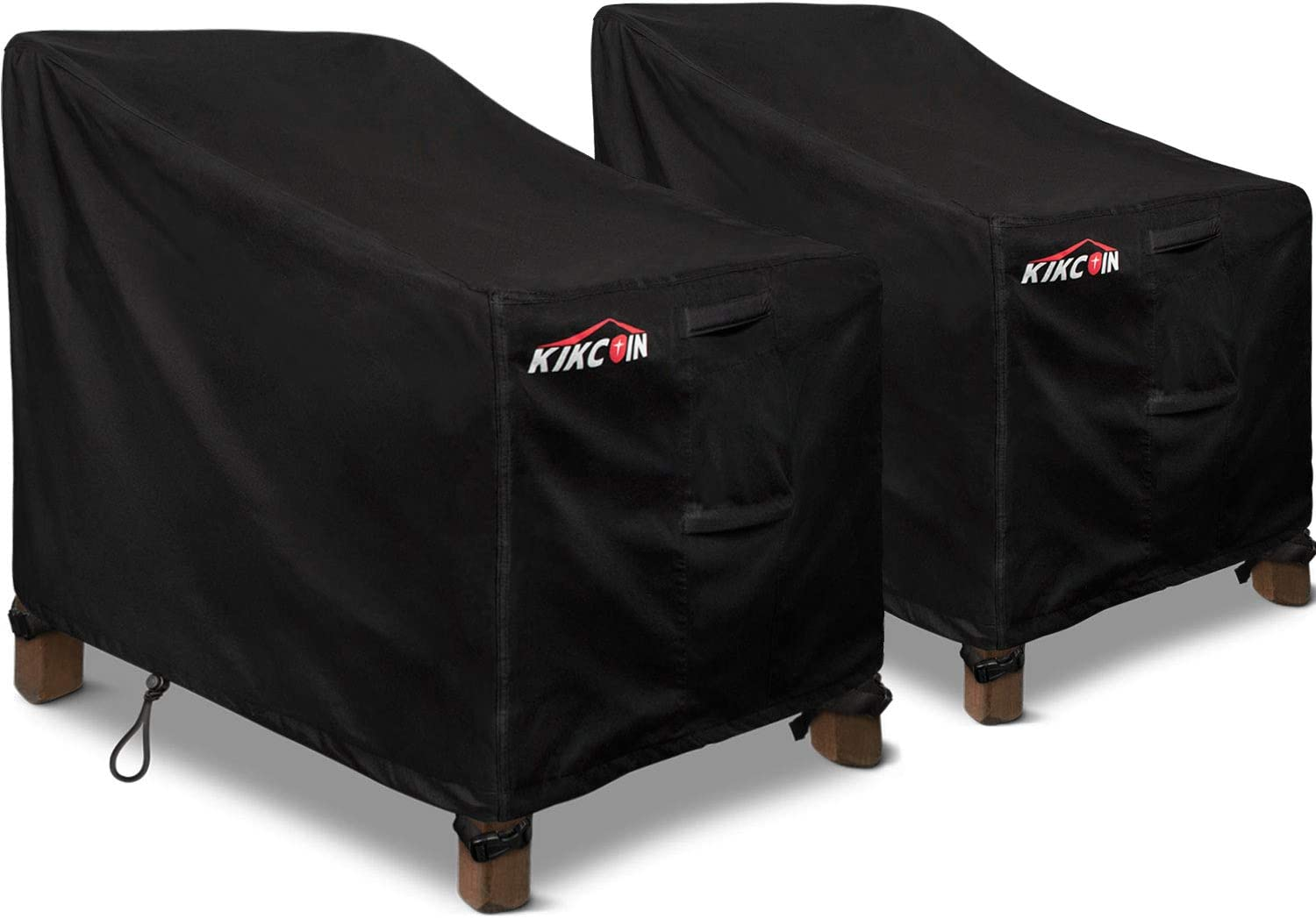 """Kikcoin Patio Chair Covers, 2 Pack Extra Wide Waterproof Outdoor Sofa Cover 37"""" W x 30"""" D x 30"""" H, 600D Heavy Duty with 2 Air Vents for All Weather, Patio Furniture Covers (Black)"""